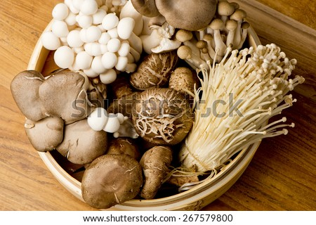 Variety of Mushrooms in a basket, closeup and overhead - stock photo