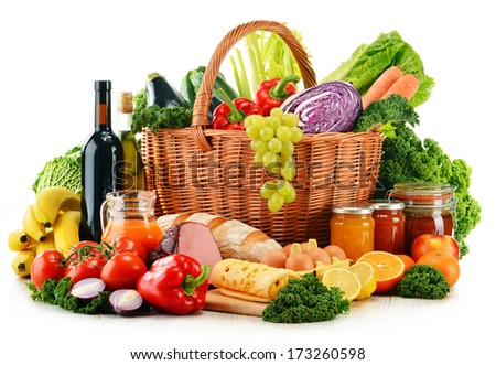 Variety of organic grocery products isolated on white - stock photo