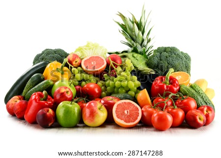 Variety of organic vegetables and fruits isolated on white background - stock photo