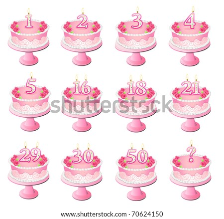 Variety of pink birthday cakes with numbered candles - stock photo