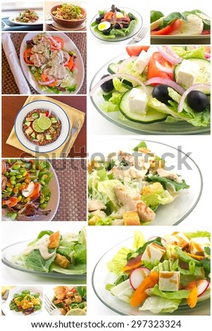 Variety of popular and healthy salads in diet food collage imagery