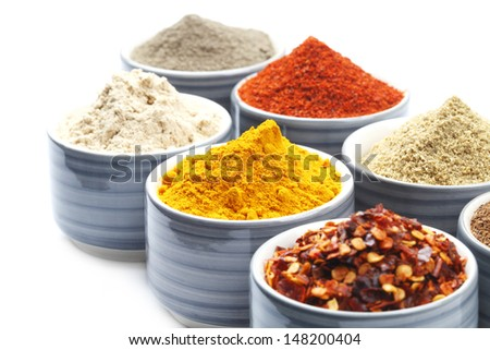 Variety of raw Authentic Indian Spice Powder on bowl.  - stock photo