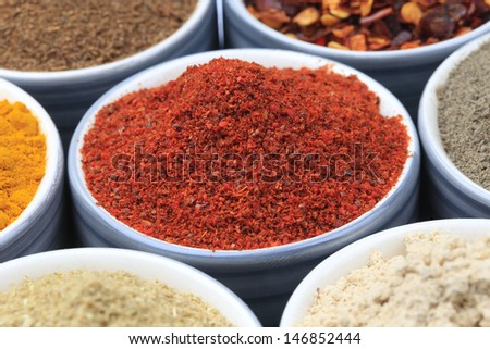 Variety of raw Authentic Indian Spice Powder on bowl. Focus on Chilli Powder in full-frame. - stock photo