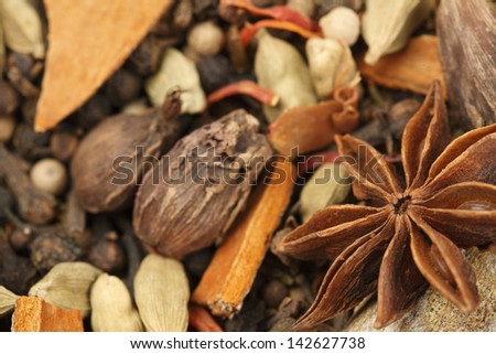 Variety of raw Authentic Indian Spices background. Focus on Star Anise in full-frame. - stock photo