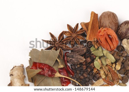 Variety of raw Authentic Indian Spices on white background.  - stock photo