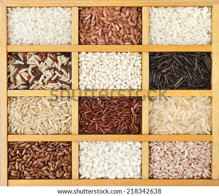 variety of rice grains (white, brown, black, wild, basmati, arborio, short, long grain) in vintage wooden case box - stock photo