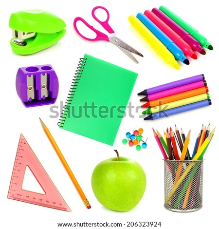 Variety of school supplies individually isolated on white  - stock photo