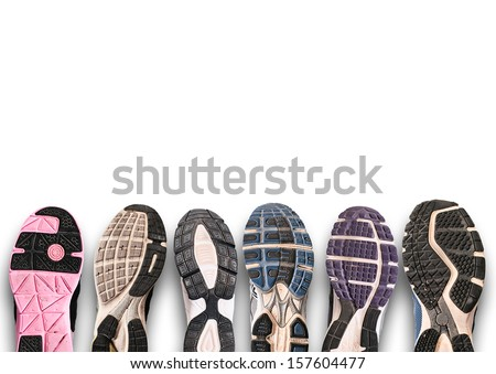 Variety of shoes./ Different shoe sole isolated on white.