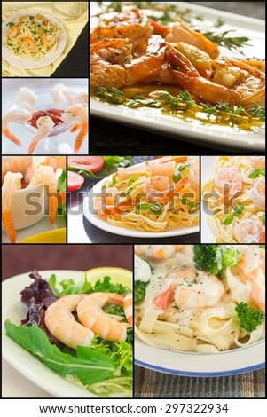 Variety of shrimp dishes and appetizers in seafood collage imagery
