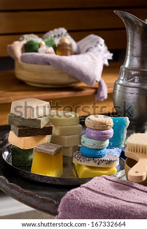 Variety of soaps in a spa  - stock photo