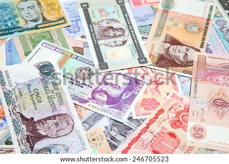 Variety of South American and African banknotes