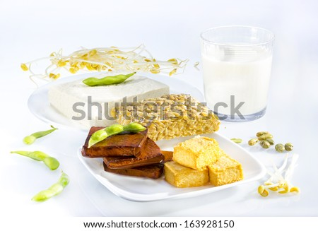 Variety of soy products including tofu, tempeh, milk and sprouts. - stock photo
