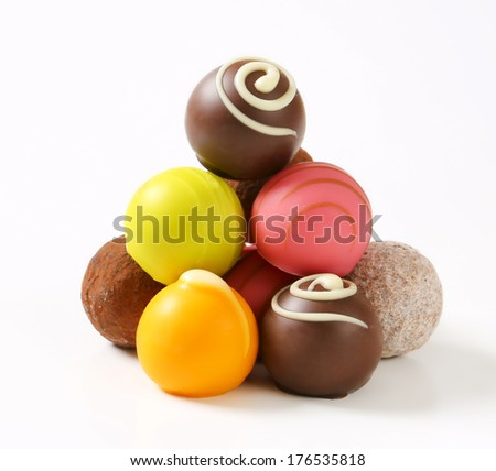 Variety of spanish hand made pralines - stock photo
