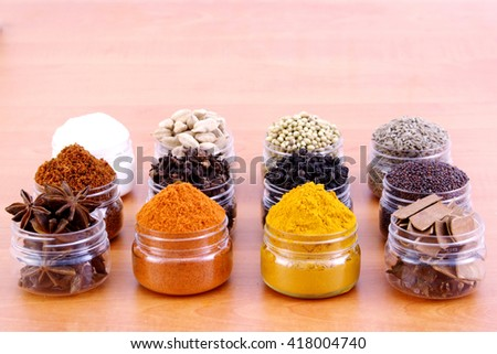 Variety of species in plastic containers - stock photo