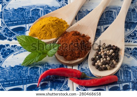 variety of spices and aromatic herbs - stock photo