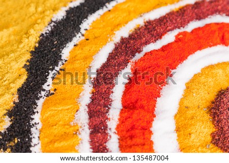 Variety of spices - food background - stock photo