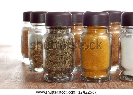 variety of spices in bottles