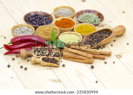 Variety of spices on wooden background - stock photo