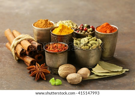variety of spices (saffron, paprika, pepper, fennel, cinnamon, turmeric, nutmeg)