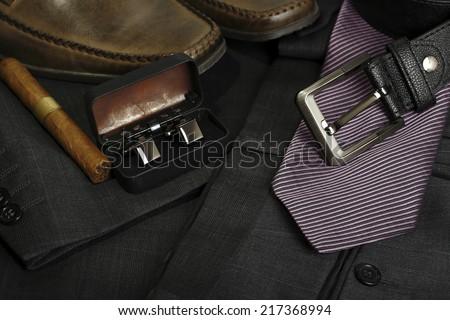 variety of stylish men's clothing - stock photo