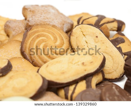 variety of sweet cookies on white background