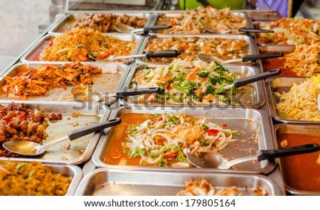 variety of thai food in Thai style fast-food on roadside - stock photo