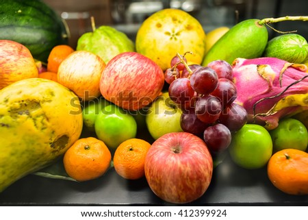 Variety of thai fruits