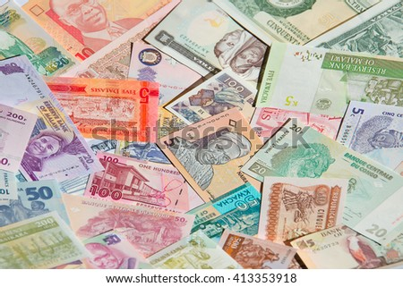 Variety of the African banknotes