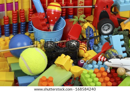 variety of toys and childhood items - stock photo