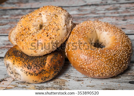 Variety of traditional New York style bagels with seeds
