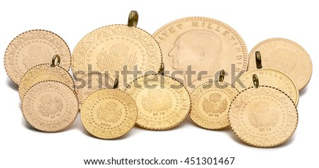 Variety of Turkish Gold Coins Isolated