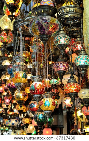Variety of turkish lamps on sale - stock photo