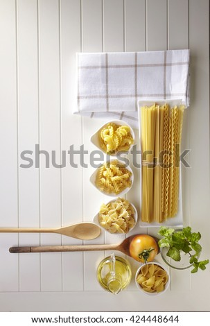 Variety of types and shapes of Italian pasta. Dry pasta - stock photo
