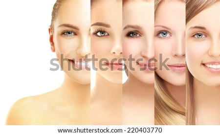 Variety of women .Collage of various girls' face - stock photo