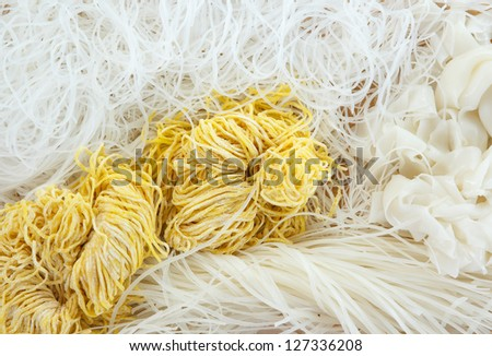 Variety types and shapes of Thai noodles. (Mung bean noodles, Rice noodles, Egg noodles) - stock photo