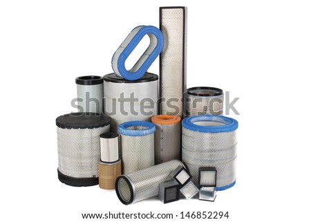 Various air filters on a white background - stock photo