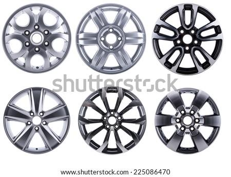 Various alloy wheels set - stock photo