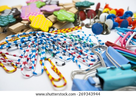Various and colourful office tools - stock photo