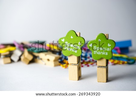 "Various and colourful office toolswith ""Special Thanks"" - stock photo"