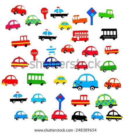 Various Automobiles, Trucks, Buses.                - stock photo
