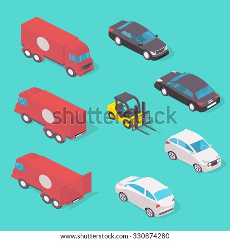 Various Automobiles, Trucks. Isometric illustration in isometric style. - stock photo