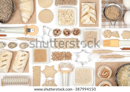 various baking ingredients and tools on white background top view - stock photo