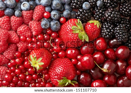 various berries background - stock photo