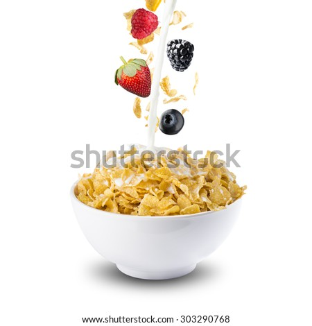 Various Berries, Blackberry, Blueberry, Strawberry, And Raspberry Falling Into Corn Flakes With Milk Splash