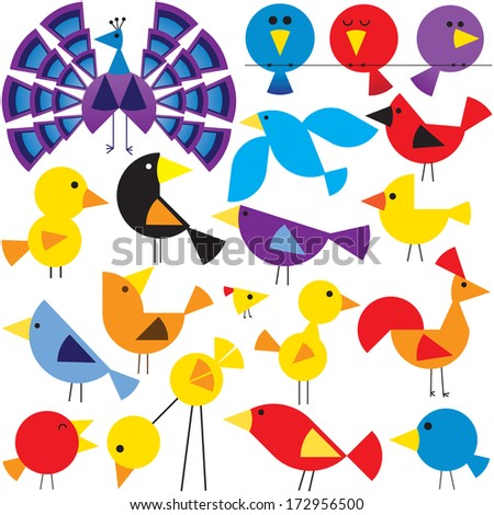 Various birds to add to your designs - stock photo