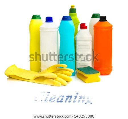 Various bottles with cleaning supplies isolated on white background - stock photo