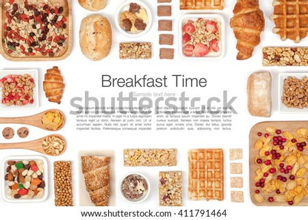 various breakfast cereals on white background. flat lay frame composition with copy space top view - stock photo