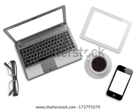 Various business computer devices, glasses and coffee cup on white - stock photo