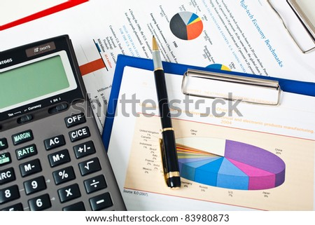 Various business stuff on a desk - stock photo