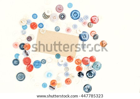 Various buttons composition, wooden background, vintage paper background, mock up